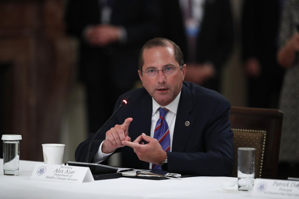 "Health and Human Services Secretary Alex Azar speaks during a ""National Dialogue on Safely Reopening America's Schools,"" event in the East Room of the..."