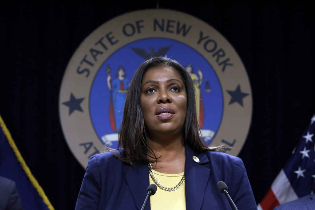 FILE - In this Nov. 19, 2019 file photo, New York State Attorney General Letitia James speaks during a news conference at her office in New York. New ...