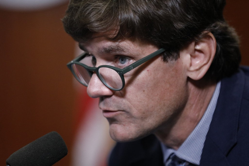 Mississippi State Health Officer Dr. Thomas Dobbs expresses concern at the public's lack of wearing face masks at Gov. Tate Reeves' COVID-19 press bri...