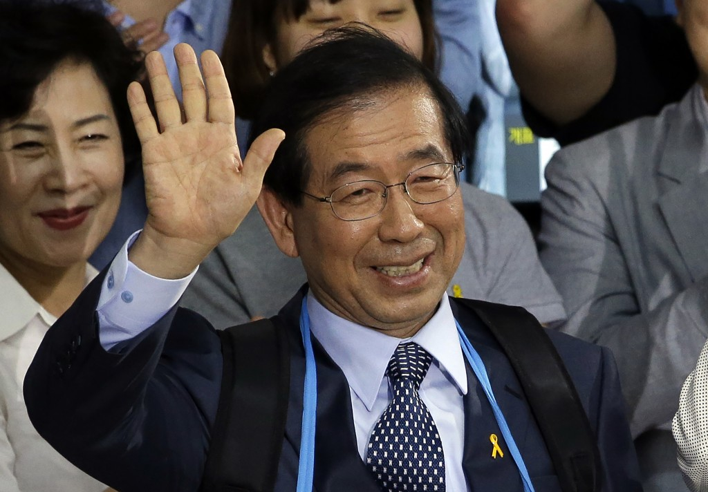 FILE - In this June 5, 2014, file photo, Park Won-soon, then candidate for Seoul city mayor of the main opposition party New Politics Alliance for Dem...