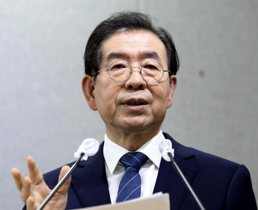 Seoul Mayor Park Won-soon speaks during a press conference at Seoul City Hall in Seoul, South Korea Wednesday, July 8, 2020. Police on Thursday, July ...