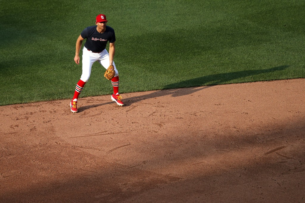 St. Louis Cardinals infielder Brad Miller takes up his position during baseball practice at Busch Stadium Wednesday, July 8, 2020, in St. Louis. (AP P...