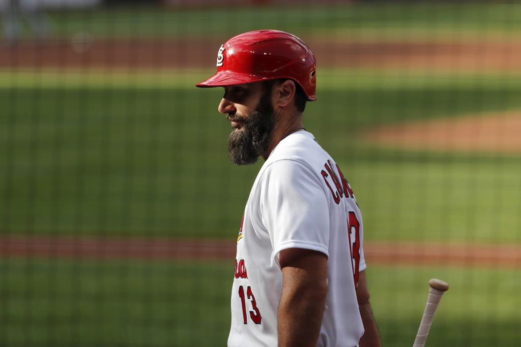 St. Louis Cardinals' Matt Carpenter walks out of the dugout during an intrasquad practice baseball game at Busch Stadium Thursday, July 9, 2020, in St...
