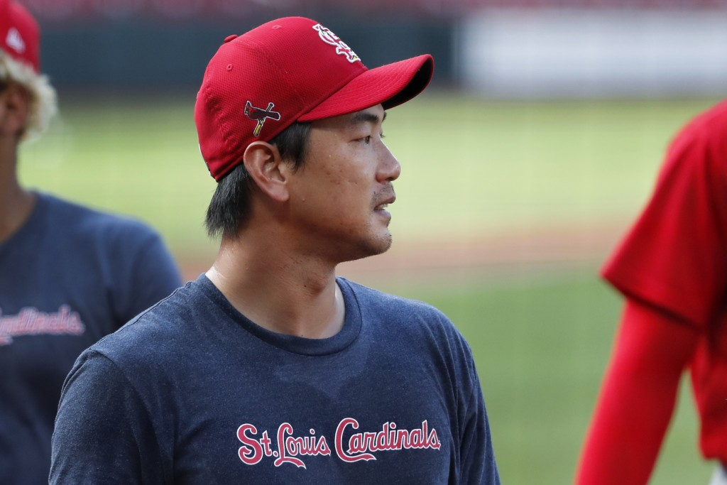 St. Louis Cardinals pitcher Kwang-Hyun Kim walks to the dugout during an intrasquad practice baseball game at Busch Stadium Thursday, July 9, 2020, in...