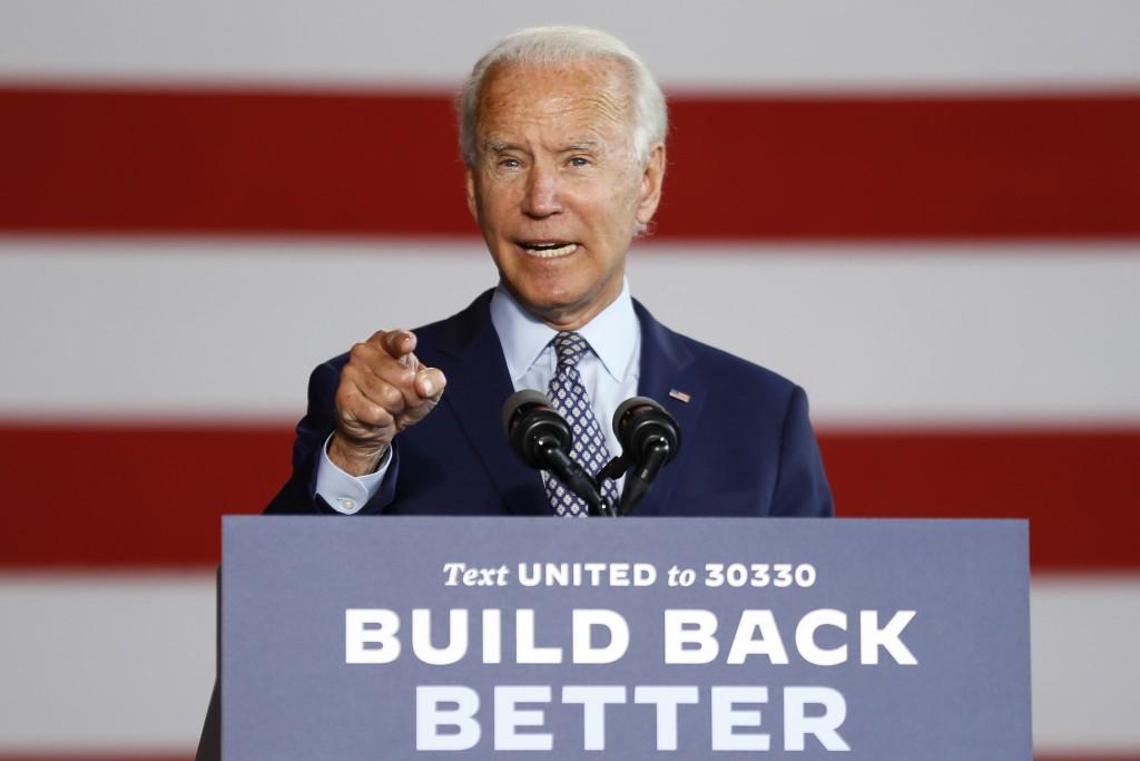 Democratic presidential candidate former Vice President Joe Biden speaks at McGregor Industries in Dunmore, Pa., Thursday, July 9, 2020. (AP Photo/Mat...