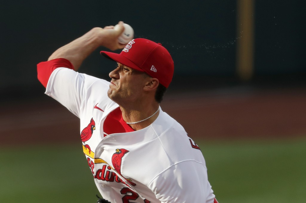 St. Louis Cardinals pitcher Jack Flaherty throws during an intrasquad practice baseball game at Busch Stadium Thursday, July 9, 2020, in St. Louis. (A...