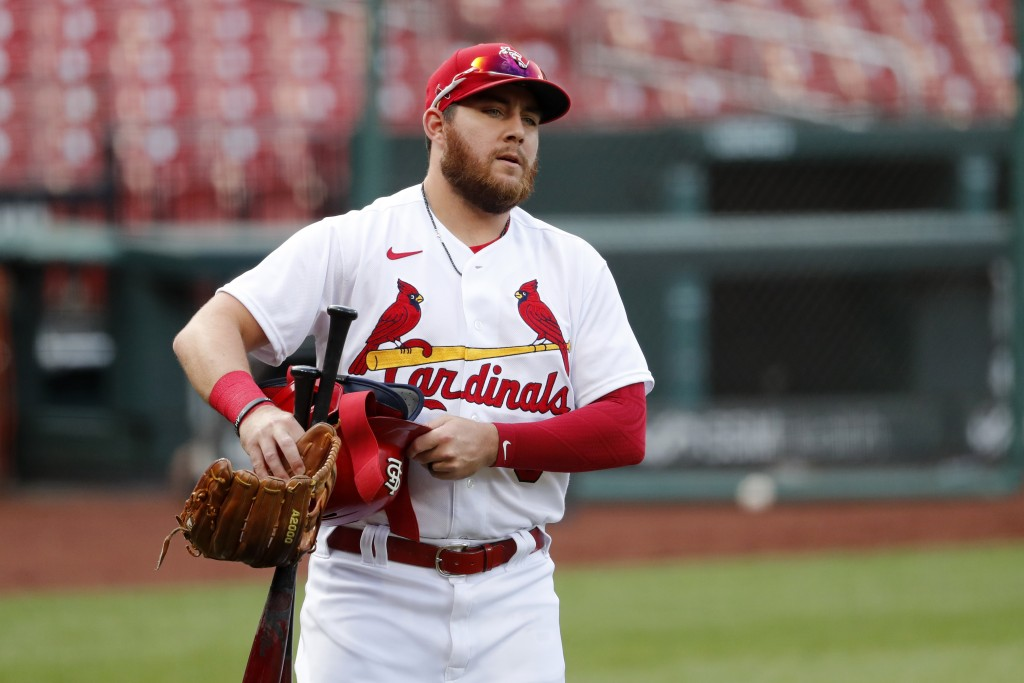 St. Louis Cardinals' Austin Dean carries his gear before an intrasquad practice baseball game at Busch Stadium Thursday, July 9, 2020, in St. Louis. (...