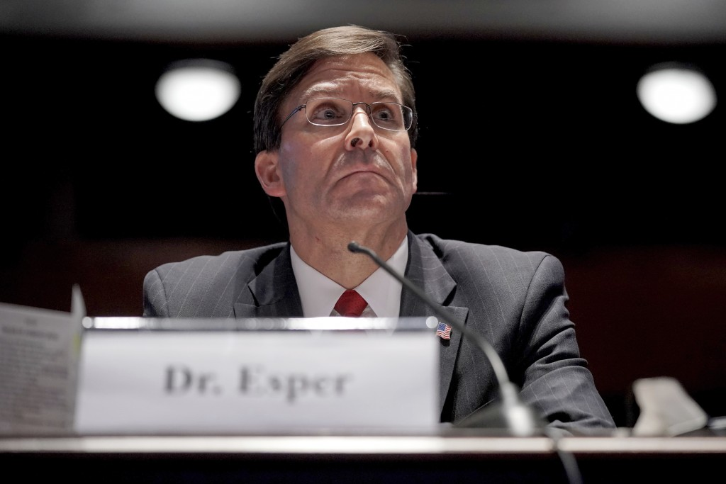 Defense Secretary Mark Esper testifies during a House Armed Services Committee hearing on Thursday, July 9, 2020, on Capitol Hill in Washington. (Greg...