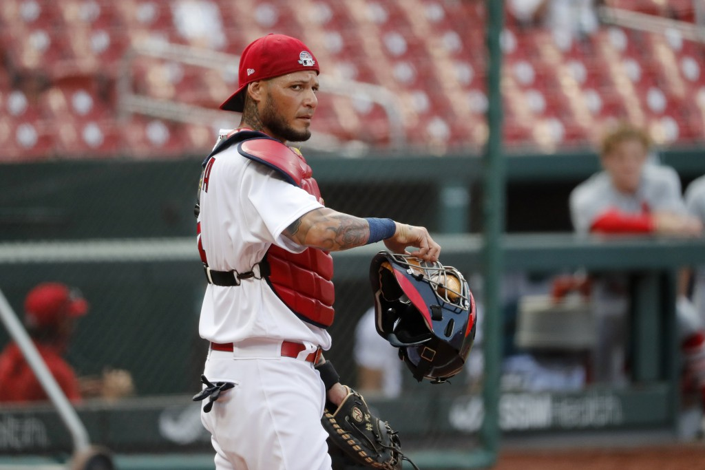St. Louis Cardinals catcher Yadier Molina takes up his position during an intrasquad practice baseball game at Busch Stadium Thursday, July 9, 2020, i...