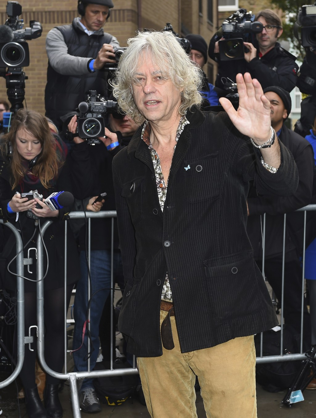 FILE - In this Nov. 15, 2014 file photo, singer Bob Geldof arrives at a music studio to record his segment of the new Band Aid 30 charity single in Lo...