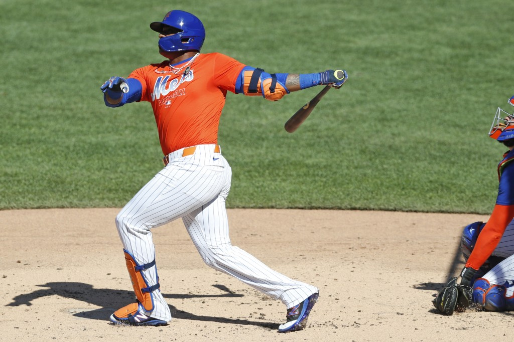 New York Mets' Yoenis Cespedes bats in a simulated game, part of the Mets summer baseball training camp workout at Citi Field, Thursday, July 9, 2020,...