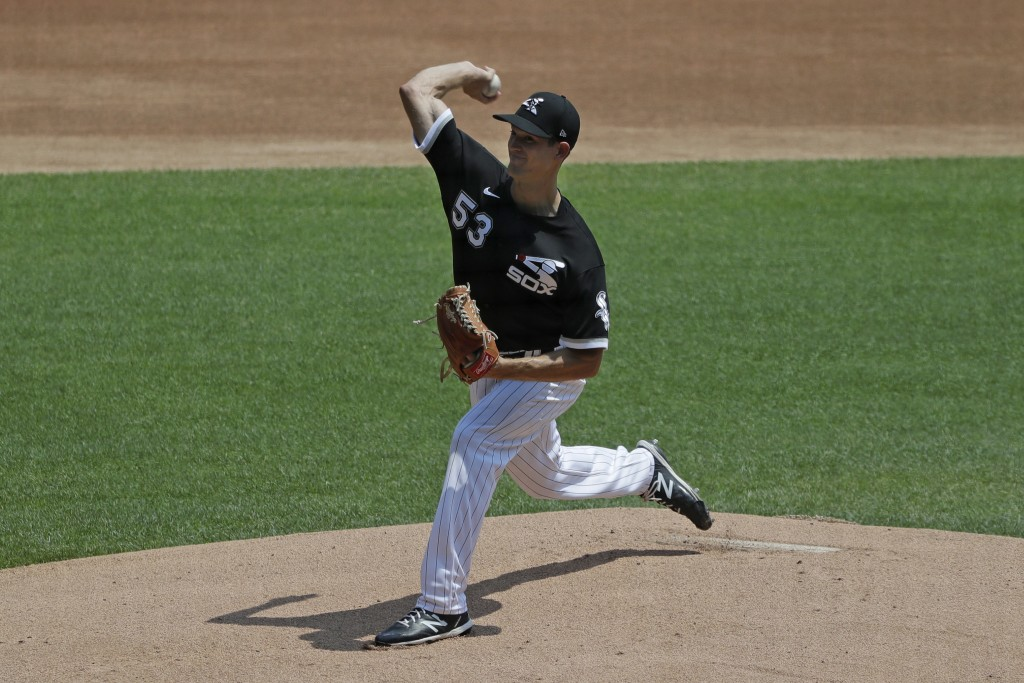Chicago White Sox pitcher Drew Anderson throws during baseball practice at Guaranteed Rate Field in Chicago, Thursday, July 9, 2020. (AP Photo/Nam Y. ...