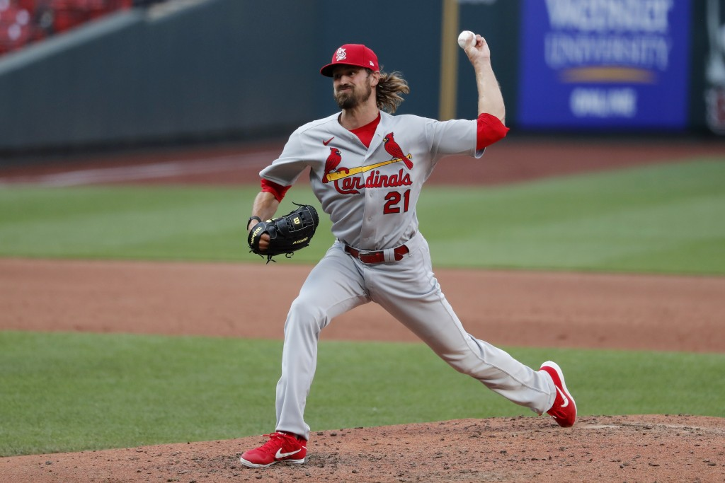 St. Louis Cardinals pitcher Andrew Miller throws during an intrasquad practice baseball game at Busch Stadium Thursday, July 9, 2020, in St. Louis. (A...