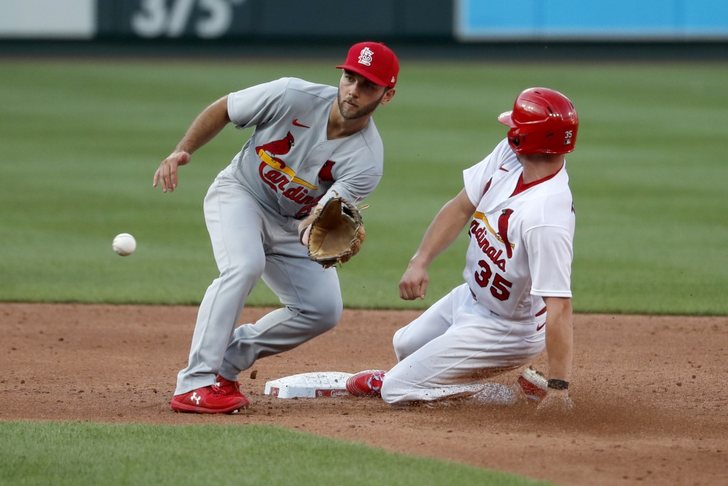 St. Louis Cardinals' Lane Thomas (35) is safe at second for a stolen base as infielder Max Schrock handles the throw during an intrasquad practice bas...