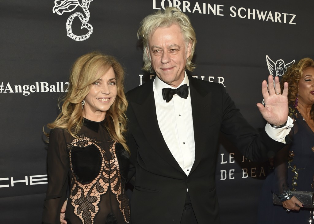FILE - In this Nov. 21, 2016 file photo, Jeanne Marine, left, and Bob Geldof attend the Angel Ball benefitting Gabrielle's Angel Foundation for Cancer...