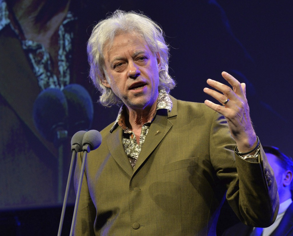 FILE - In this May 21, 2015 file photo, Bob Geldof appears at the 60th Ivor Novello Awards in London. Geldof's Live Aid concerts have raised millions....