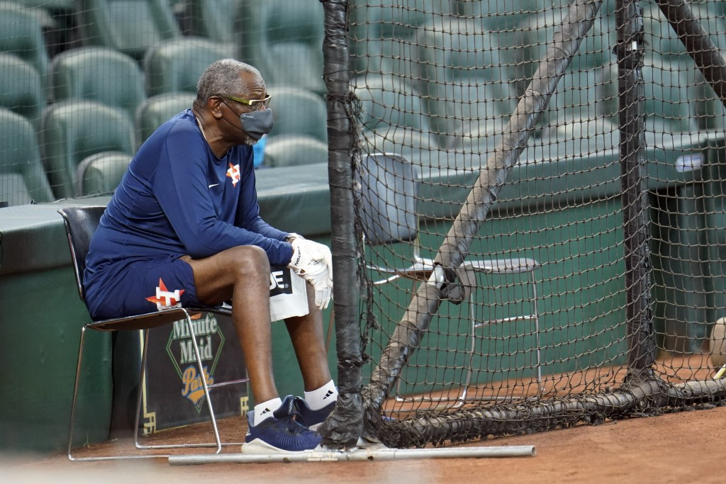 Houston Astros manager Dusty Baker watches during a simulated baseball game Thursday, July 9, 2020, in Houston. (AP Photo/David J. Phillip)