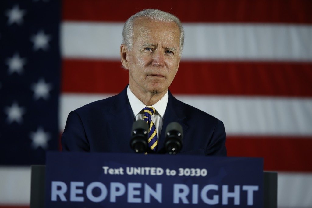 FILE - In this June 17, 2020, file photo Democratic presidential candidate, former Vice President Joe Biden pauses while speaking, in Darby, Pa. Amid ...