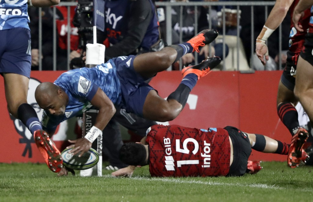 Blues Mark Telea scores his team's first try during the Super Rugby Aotearoa rugby game between the Crusaders and the Blues in Christchurch, New Zeala...
