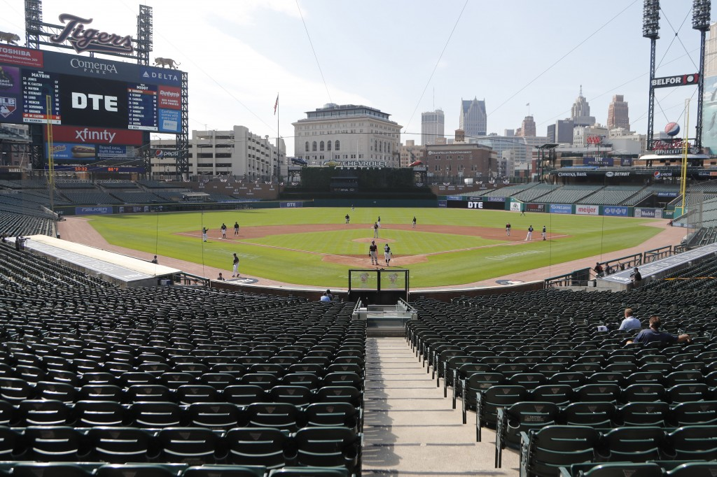 The Detroit Tigers play an intrasquad baseball game, Friday, July 10, 2020, in Detroit. (AP Photo/Carlos Osorio)