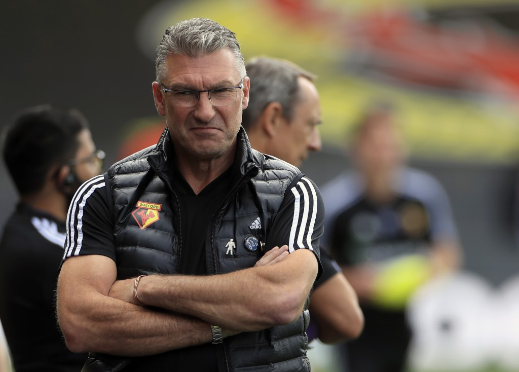 Watford's head coach Nigel Pearson before the English Premier League soccer match between Watford and Newcastle at the Vicarage Road Stadium in Watfor...