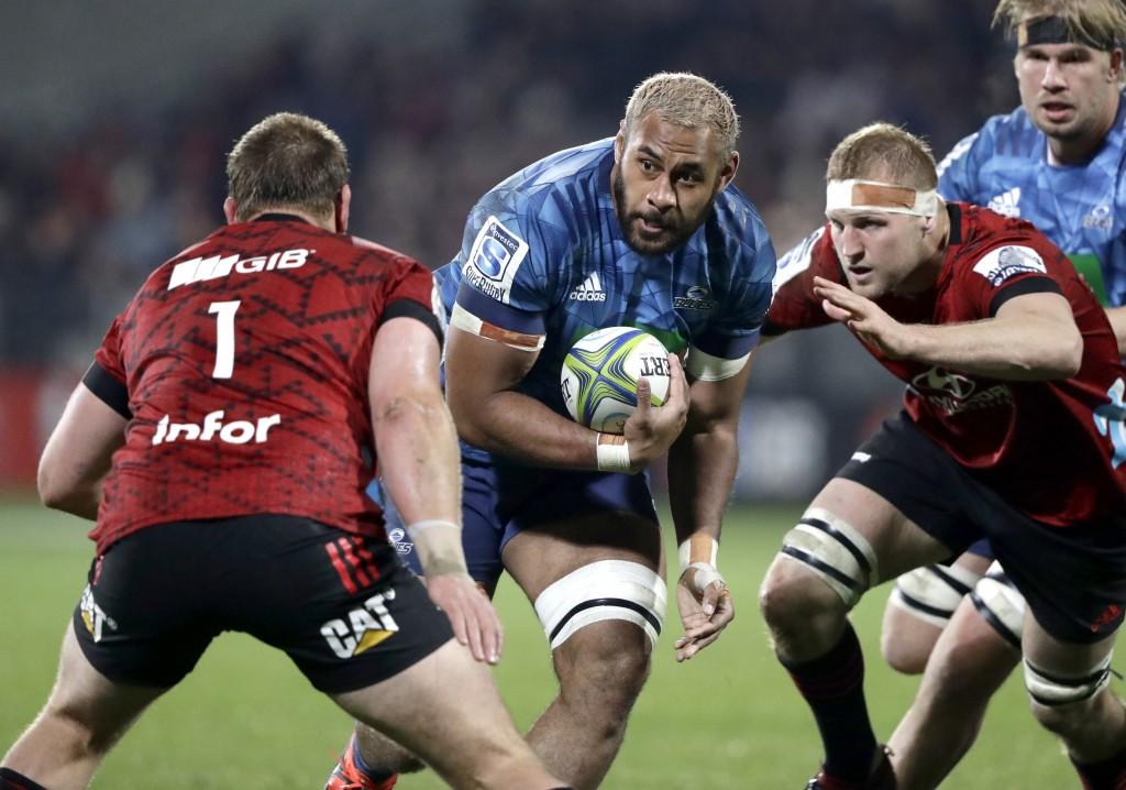 Blues Patrick Tuipulotu runs at the defence during the Super Rugby Aotearoa rugby game between the Crusaders and the Blues in Christchurch, New Zealan...