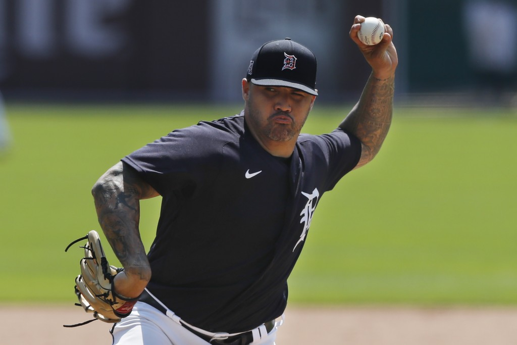 Detroit Tigers pitcher Hector Santiago throws during an intrasquad baseball game, Friday, July 10, 2020, in Detroit. (AP Photo/Carlos Osorio)