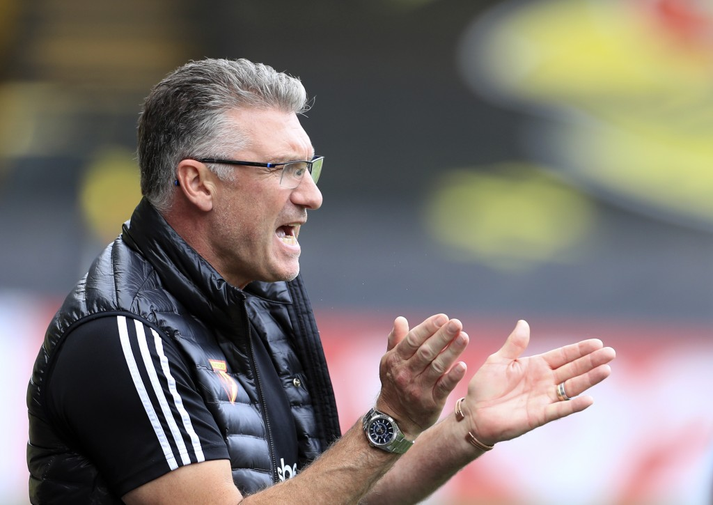 Watford's head coach Nigel Pearson applauds during the English Premier League soccer match between Watford and Newcastle at the Vicarage Road Stadium ...
