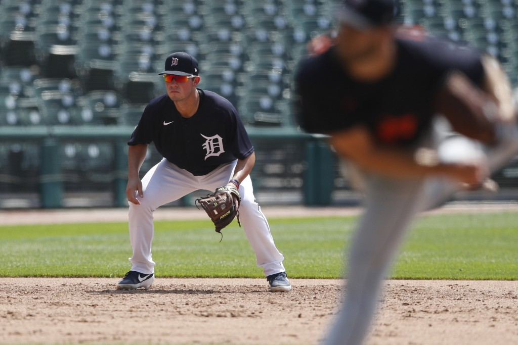 Detroit Tigers third baseman Spencer Torkelson waits on the play during an intrasquad baseball game, Friday, July 10, 2020, in Detroit. (AP Photo/Carl...
