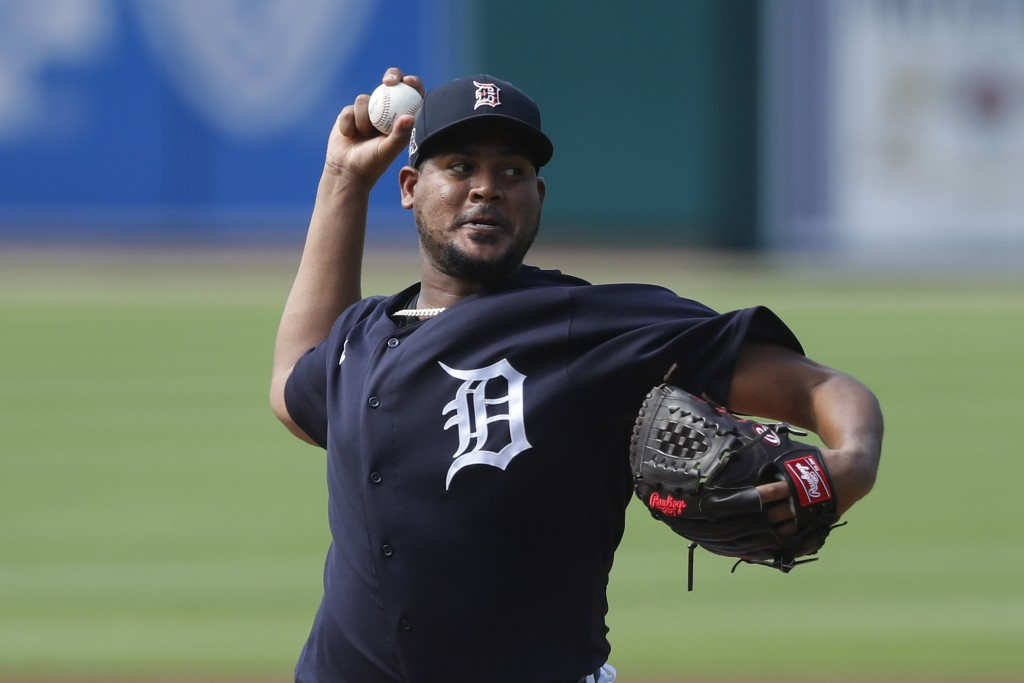 Detroit Tigers pitcher Ivan Nova throws during an intrasquad baseball game, Friday, July 10, 2020, in Detroit. (AP Photo/Carlos Osorio)