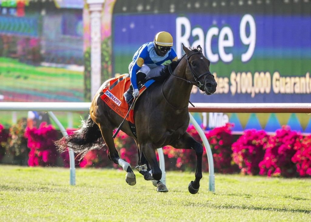 In this image provided by Benoit Photo, Hit the Road, with Umberto Rispoli aboard, wins the $100,000 Runhappy Oceanside Stakes horse race Friday, July...
