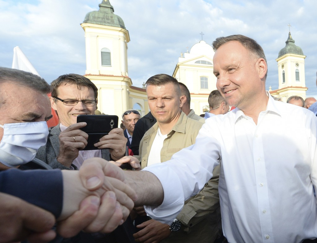 In this Wednesday, July 8, 2020 photo Poland's incumbent president Andrzej Duda, who is seeking reelection in a tight presidential election runoff on ...