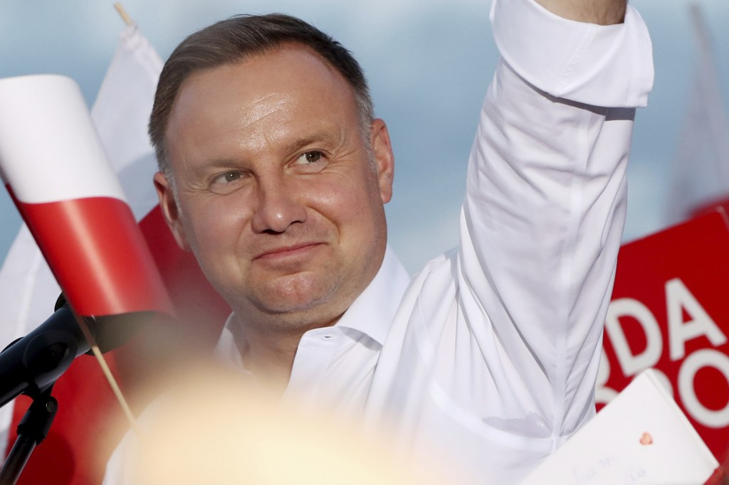 In this Tuesday, July 7, 2020 photo Poland's incumbent president Andrzej Duda, who is seeking reelection in a tight presidential election runoff on Su...