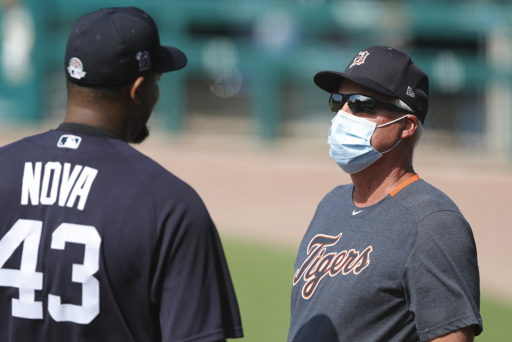 Detroit Tigers pitcher Ivan Nova (43) talks with pitching coach Rick Anderson during an intrasquad baseball game, Friday, July 10, 2020, in Detroit. (...