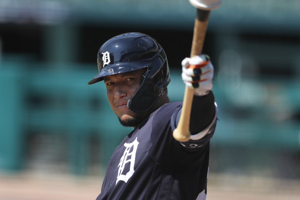 Detroit Tigers' Miguel Cabrera prepares to bat during an intrasquad baseball game, Friday, July 10, 2020, in Detroit. (AP Photo/Carlos Osorio)