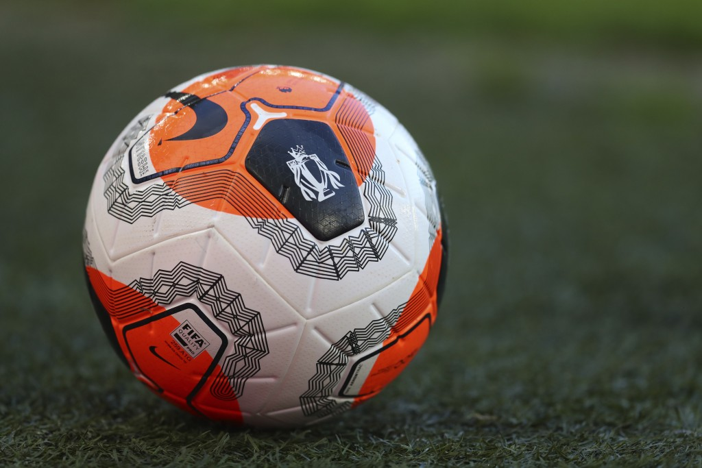 The Premier League ball on the ground ahead of the English Premier League soccer match between Brighton and Manchester City at the Falmer stadium in B...