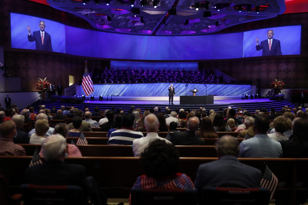 FILE - In this Sunday, June 28, 2020 file photo, Senior Pastor Robert Jeffress addresses attendees before Vice President Mike Pence was to speak at th...