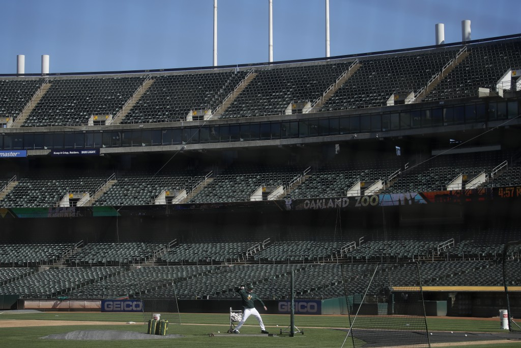 Oakland Athletics manager Bob Melvin throws to a batter at Oakland Coliseum during a baseball practice in Oakland, Calif., Saturday, July 11, 2020. (A...