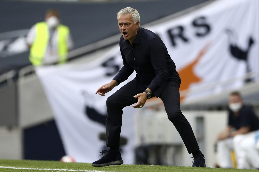 Tottenham's manager Jose Mourinho reacts during the English Premier League soccer match between Tottenham Hotspur and Arsenal at the Tottenham Hotspur...