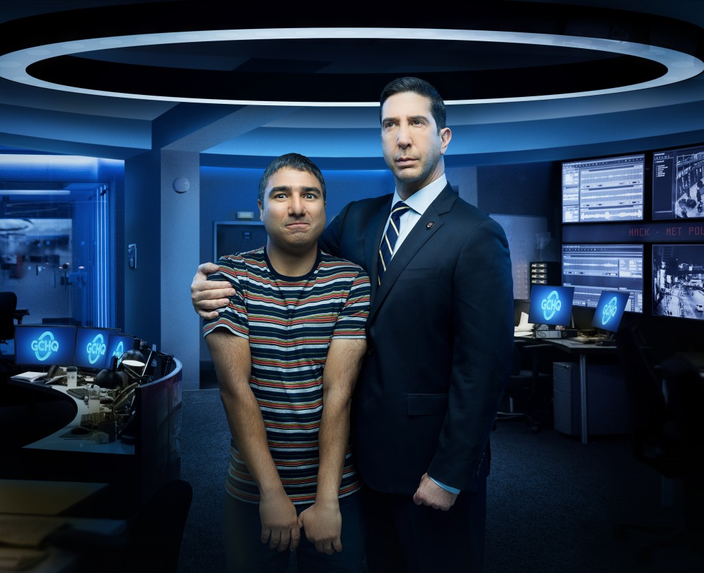 """This image released by Peacock shows Nick Mohammed, left, and David Schwimmer from the series """"Intelligence,"""" which will be available on the new strea..."""