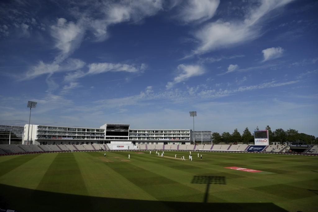 A general view during the fifth day of the first cricket Test match between England and West Indies, at the Ageas Bowl in Southampton, England, Sunday...
