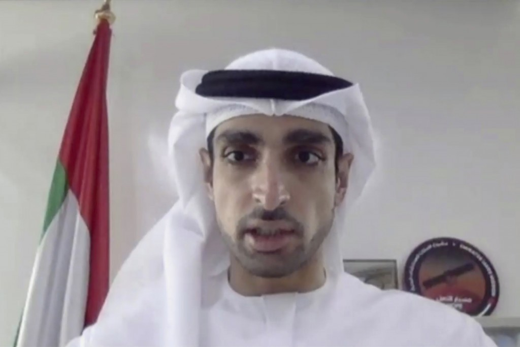 In this image made from video released by Mitsubishi Heavy Industries, project manager Omran Sharaf speaks during a pre-launch video briefing of a Mar...