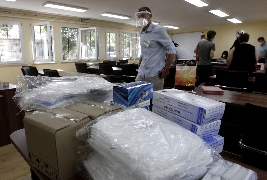 Protective medical equipment for special election teams visiting voters who have coronavirus, are stored at the municipal election commission headquar...