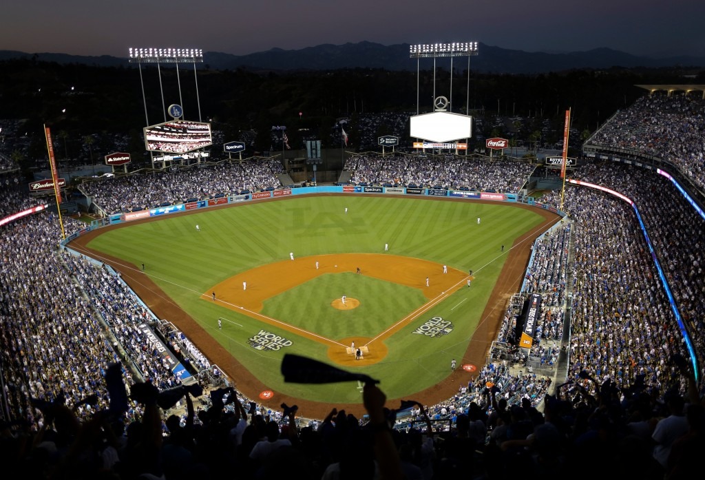 FILE - In this Oct. 25, 2017, file photo, the Houston Astros and the Los Angeles Dodgers play in Game 2 of the baseball World Series at Dodger Stadium...