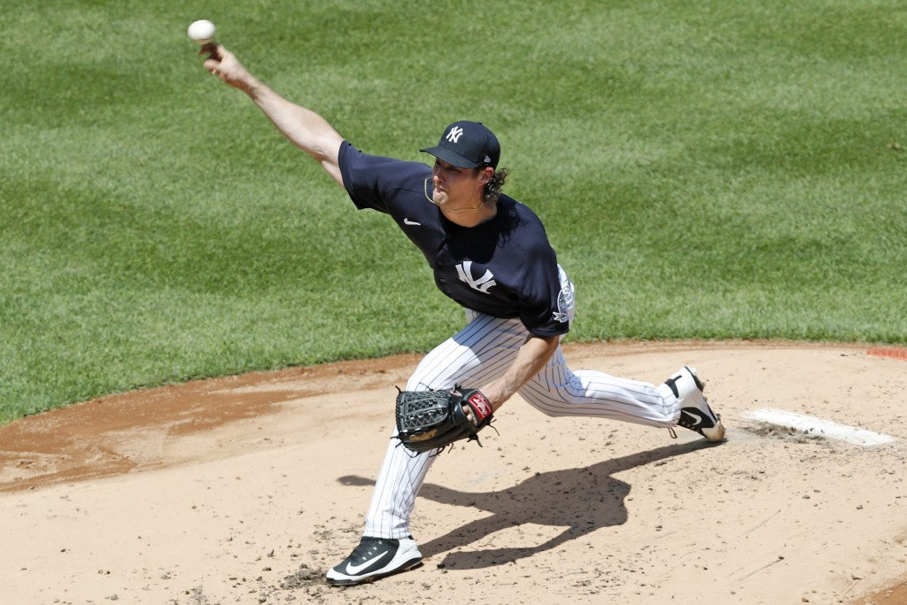 New York Yankees starting pitcher Gerrit Cole delivers during an intrasquad game in baseball summer training camp Sunday, July 12, 2020, at Yankee Sta...