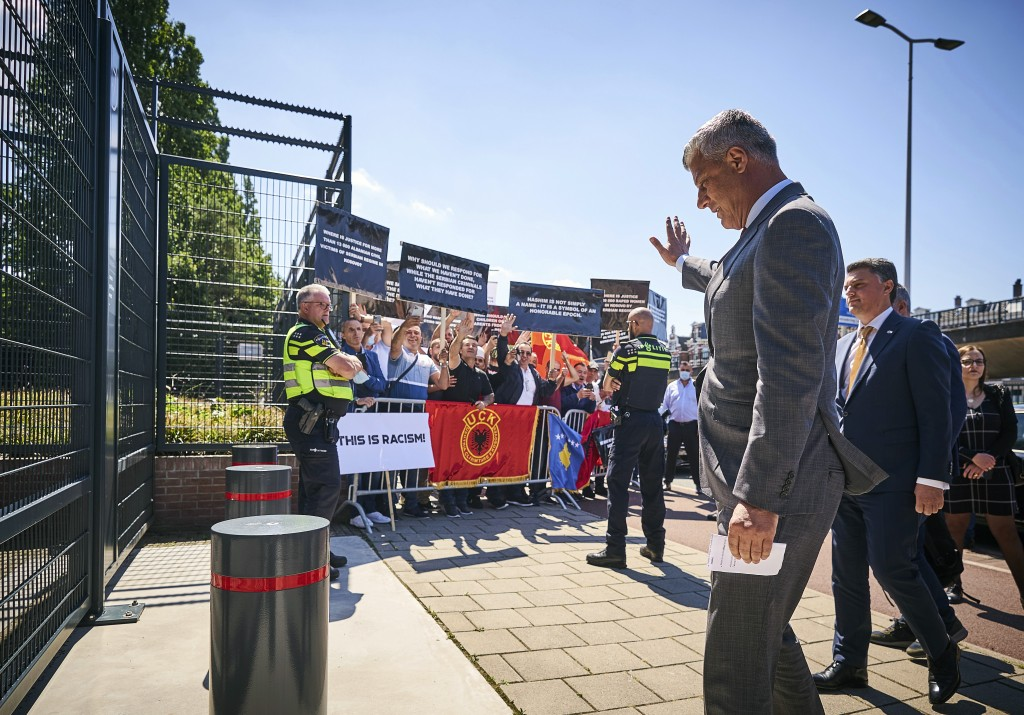 Kosovo's president Hashim Thaci arrives at the Kosovo Specialist Chambers in The Hague, Monday July 13, 2020. Kosovo's president visited prosecutors a...