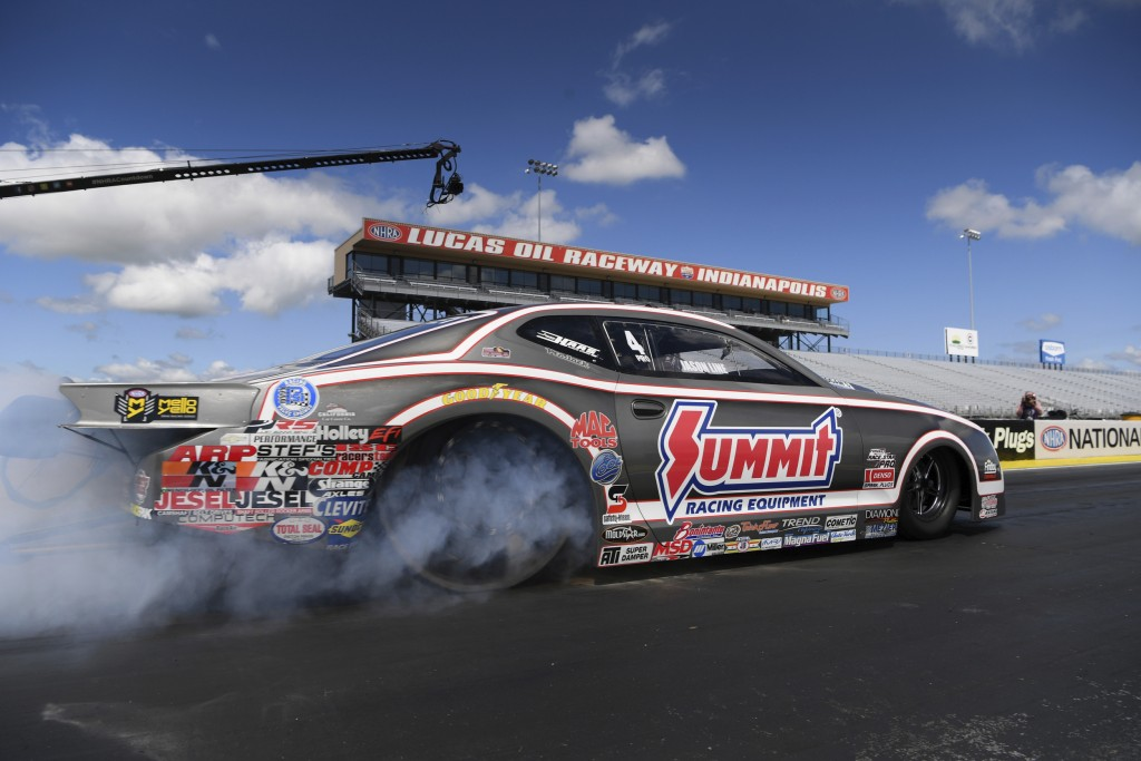 In this photo provided by the NHRA, Pro Stock veteran Jason Line starts the day from the No. 1 spot then went on to pick up the win when he took out J...
