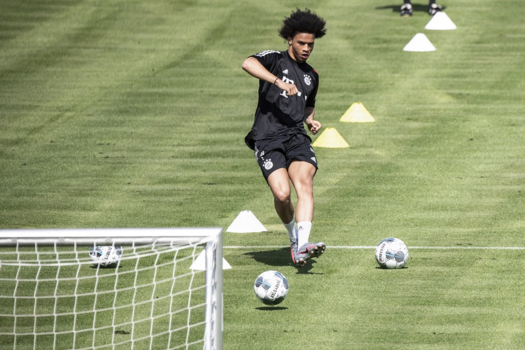 Leroy Sane, new player of the German first division, Bundesliga, soccer team FC Bayern Munich, takes part in a training session in Munich, Germany, Tu...