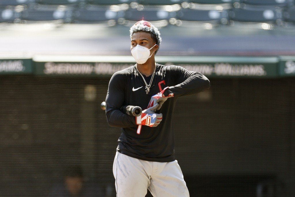 Cleveland Indians' Francisco Lindor prepares to take batting practice during baseball practice, Monday, July 6, 2020, in Cleveland. (AP Photo/Ron Schw...