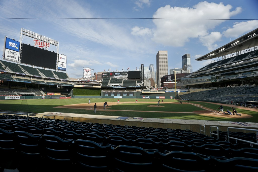 The Minnesota Twins play an intrasquad game at Target Field at baseball camp Monday, July 13, 2020, in Minneapolis. (AP Photo/Bruce Kluckhohn)